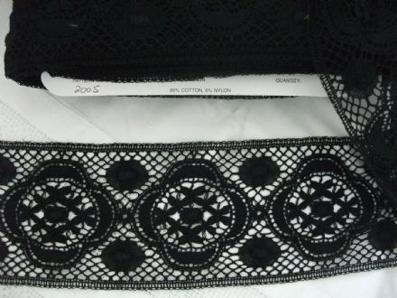Made in England Genuine Cotton Cluny Lace Black - Vintage Pattern 2005